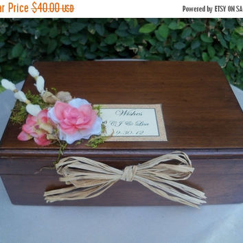 ON SALE Wedding Card Box / Wooden Wishes Card Box Holder / Rustic Wedding card Advice Box