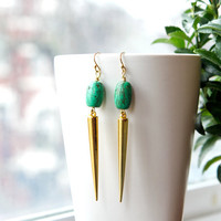 Spring Turquoise and gold spikes earrings by AtelierYumi on Etsy