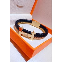 Hermes Stylish Women Men Exquisite Stainless Steel Cowhide Hand Catenary Bracelet Accessories Jewelry