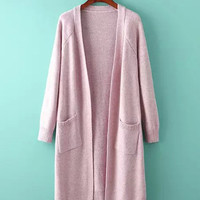 Double Pocket Knitted Long Sleeve Cardigan