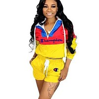 Champion Fashion New Embroidery Letter Long Sleeve Top And Shorts Sports Leisure Two Piece Suit Yellow