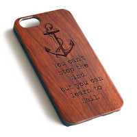 Anchor learn to sail Natural wood iPhone case laser engraved iPhone 7 6 6S Plus case WA038