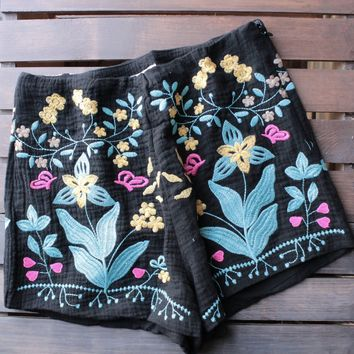 vanessa floral embroidered shorts