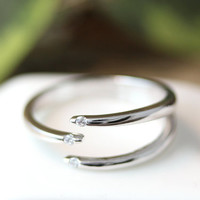 Triple Line Across Ring Adjustable Open ring Silver tone Plated Jewelry gift idea