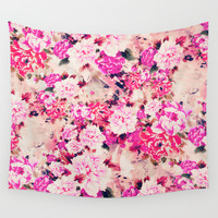 Elegant Pink Chic Floral Pattern Girly Peonies Wall Tapestry by Girly Road