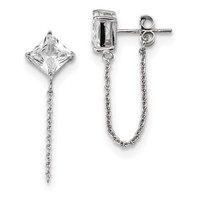 Sterling Silver Rhodium-plated Princess CZ Chain Post Earrings