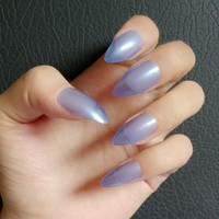 Candy Fake Nail Tips Clear Transparent Blue Stiletto False Nail DIY Acrylic Nails Tips Press On Nail E006