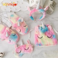 Vanmajor Creative colorful plush shoes unicorn female slippers headband eyewear bundle pocket plush toys