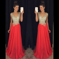V-Neck Prom Dress,Sleeveless Beaded Chiffon Prom Dresses,Evening Dresses