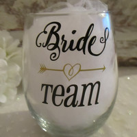 Bride Team Wine Glass DECAL ONLY Diy ~ Custom Personalized Bridal Party Title  ~ Glasses NOT Included ~ Bride Bridesmaid Maid of Honor