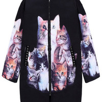 Kitten Print Rivet Coat