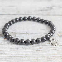 Black onyx beaded stretchy bracelet with micro pave silver Hamsa hand charm, made to order bracelet,  mens bracelet, womens bracelet