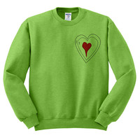 Kiwi Green Crewneck Grinch Heart Ugly Christmas Sweatshirt Sweater Jumper Pullover