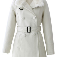 Double Breasted Belted Trench Coat in Cream