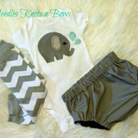 Baby Boys Elephant Outfit, Newborn Boys Coming Home Outfit w/ Legwarmers