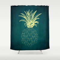 y-hello pineapple Shower Curtain by AmDuf