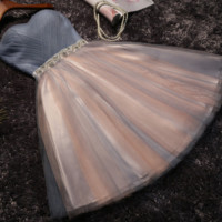 Party dress new style short grey strapless bridesmaid dresses short skirts sister dresses toasting dress annual party dress