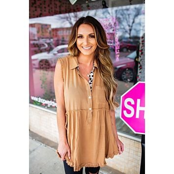 The Toffee Button Down Tunic