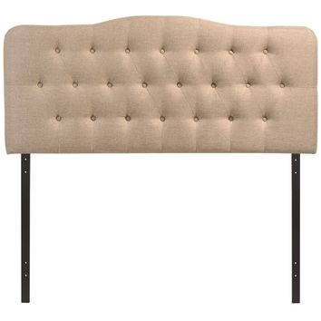 Modern Upholstered, Button Tufted, Arched Padded Fabric n Vinyl Headboards