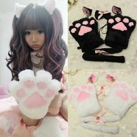 New Arrival 1 Set Cat Ears Plush Paw Claw Gloves Tail Ribbon Anime Cosplay Costumes Winter Warm Women Lady Gloves