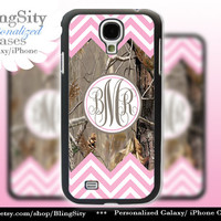Monogram Galaxy S4 case S5 Pink Chevron Stripes Real Tree Camo Deer Personalized Samsung Galaxy S3 Case Note 2 3 Cover Zig Zag