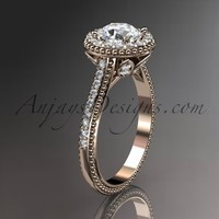 """14kt rose gold diamond floral wedding ring, engagement ring with a """"Forever Brilliant"""" Moissanite center stone ADLR101"""