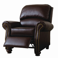 Chocolate Nail Head Accent Recliner by Serta Upholstery