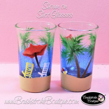 Hand Painted Shot Glasses - Beachy Keen - Original Designs by Cathy Kraemer