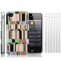 iPhone 4S / iPhone 4 'Oh So Mexico' Retro Vintage Aztec Pastel (Designed by Creative Eleven) TPU Gel Skin / Case / Cover + 6-in-1 Screen Protector Pack