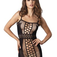 Leg Avenue Female Seamless Multi Net Mini Dress W/ Belt Detail And Opaque Sides 81505