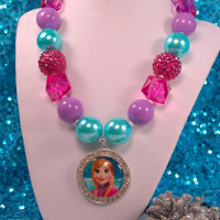 Anna Necklace, Chunky Beaded Necklace,Frozen Boutique Jewelry