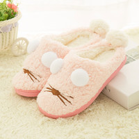 Cartoon Fuzzy Flat Slippers