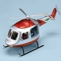 """Christmas Musical 17"""" Helicopter Figure Light & Rotation. Various Christmas Songs. Materials Polyresin Dimensions 7.25"""" H 17.75"""" W 9.875"""" D."""