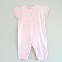 Pink Baby Suit Jumper Vintage Laura Ashley Gently Used Baby Clothes Dressy Baby Clothes Toddler Clothes Size Nine Month Baby Romper