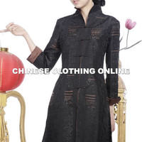 Embossed Embroidery Mandarin Coat (Black) [WCDY-SY-A006-blk] ?