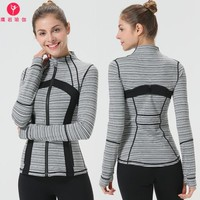 Yoga jacket Zipper Long Sleeve Jacket  Run Speed Do Clothing Printing Yoga Serve