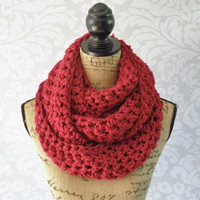 Ready To Ship Infinity Scarf Crochet Knit Large and Plush Cranberry Red Women's Accessories Eternity Fall Winter