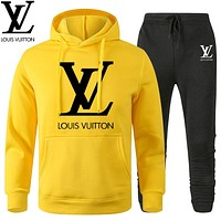 LV Louis Vuitton Classic printed letter logo hooded sweatshirt trousers two-piece suit Yellow