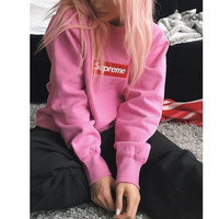"Embroidery Couple ""Supreme"" Print Sweatshirt Round-neck Pullover Hoodies Pink"