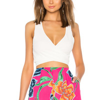 Show Me Your Mumu Conga Wrap Top in White Crinkle Stretch