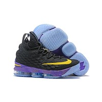 Nike LeBron 15 Black Gold Purple Sneakers