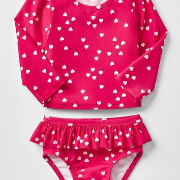 Gap Heart Ruffle Rashguard Two Piece
