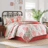 Carina 6-8 Piece Complete Comforter Set in Coral