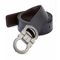 100% Auth.Salvatore Ferragamo Leather Double Gancini Belt Size: 36 $395