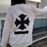 """Chrome Hearts"" Women Casual Cross Leather Embroidery Long Sleeve Sweater Tops"