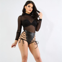 """Caution"" leather style lace up cutout shorts"