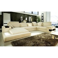 Frantically Modern Leather Sectional Sofa Set