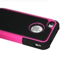 ASleek Hard Soft High Impact Body Armor Case Cover for Apple iPhone 4 / 4S-Hot Pink / Black