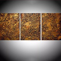 "ARTFINDER: triptych 3 panel large wall decor art "" Gold and Orange Peel "" acrylic three part impasto effect 3 panel on canvas wall abstract 48 x 20 "" by Stuart Wright - "" Gold and Orange Peel "" extra large triptych 3..."