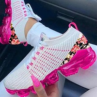 Air cushion leisure shoes flying woven color running shoes woman